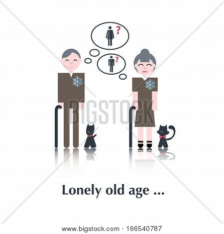 Old People icon, pictogram.Concept of relationships, old people, female, cat, dog, speech bubble over white and text Lonely old age in flat style