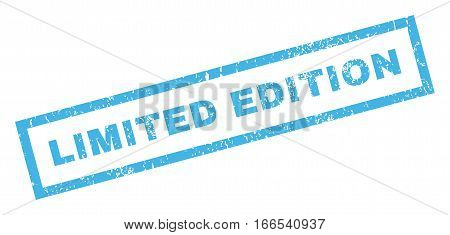 Limited Edition text rubber seal stamp watermark. Caption inside rectangular shape with grunge design and scratched texture. Inclined vector blue ink emblem on a white background.