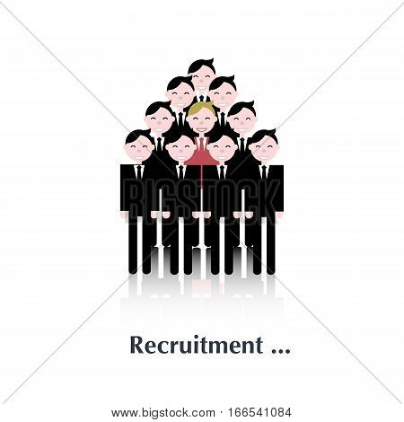 Business men.Vector man people icon, pictogram.Concept recruitment, selection, choice of the person in the crowd, over white with text Recruitment, in flat stile