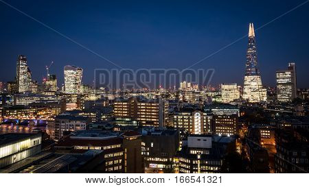 The London City Skyline At Night