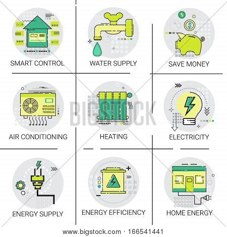 Electricity Energy Supply Power Invention, Heating, Smart Control, Air Conditioning Icon Set Vector Illustration