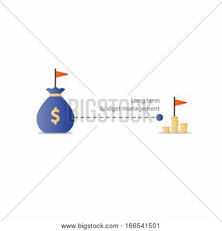 Long term investment, budget plan icon, financial independence strategy, future profit, pension saving, retirement accumulation, vector illustration