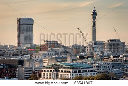 Bt Tower And The London Skyline, Autumnal Dusk