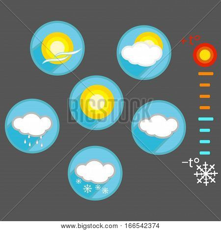 Weather vector flat icons. Partly cloudy rain snow wind sunny cloudy. Thermometer with temperature indicators