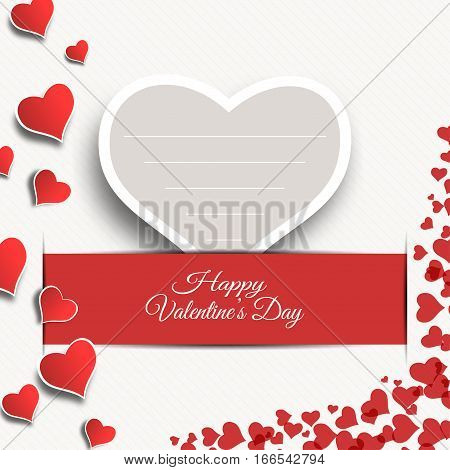 Vector Happy Valentine's Day blank greeting card with gray paper heart insert in the red slot with shadow.