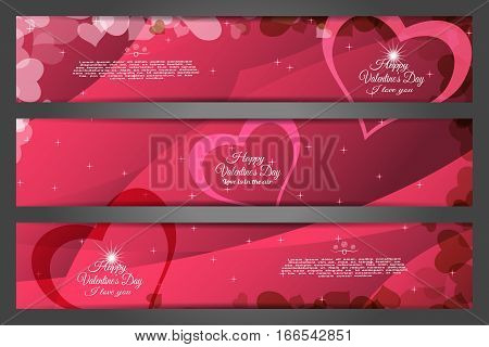 Vector set of wide greeting bookmarks for Valentine's Day on the abstract dark red background with heart silhouettes waves and text.