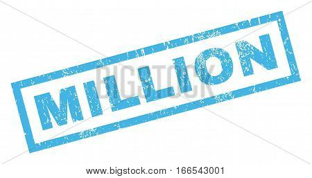 Million text rubber seal stamp watermark. Tag inside rectangular banner with grunge design and dirty texture. Inclined vector blue ink emblem on a white background.