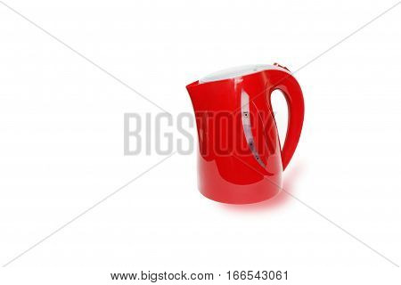 red electric kettle isolated  on a white background