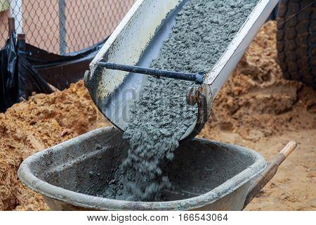 Wheelbarrow Pouring Mortar Into The Foundations