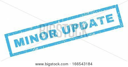 Minor Update text rubber seal stamp watermark. Tag inside rectangular shape with grunge design and dirty texture. Inclined vector blue ink sign on a white background.