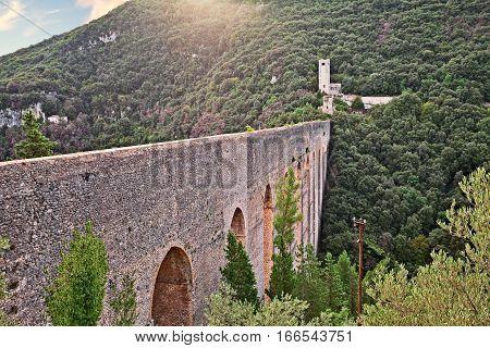 Spoleto, Umbria, Italy: landscape with the ancient Ponte delle Torri, the medieval bridge aqueduct (13th century)