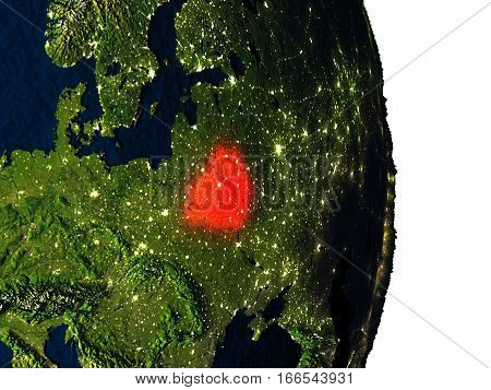 Belarus From Space During Dusk