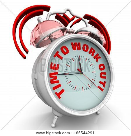 Time to work out! The alarm clock with an inscription. Alarm clock with the words