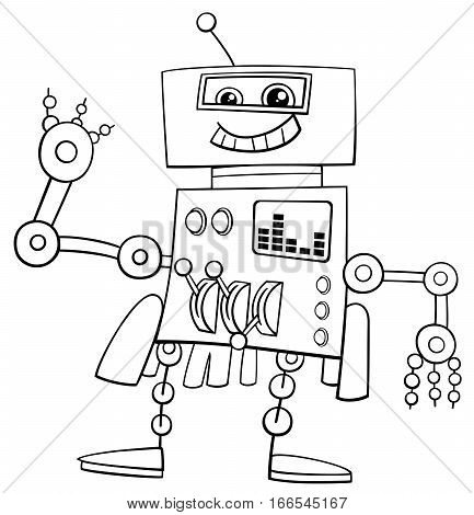 Funny Robot Coloring Page
