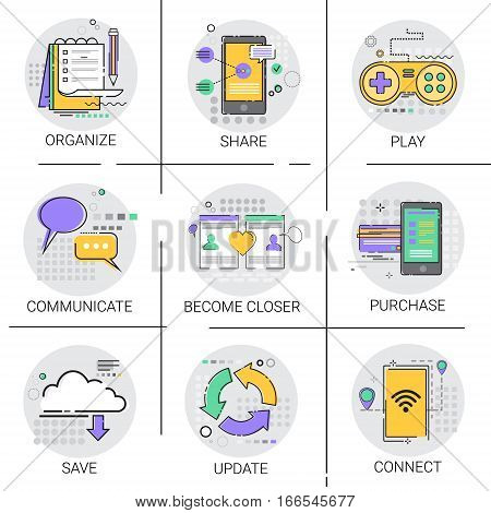 Communicate Social Network Communication Connection Database Online Shopping Applicatios Icon Set Vector Illustration