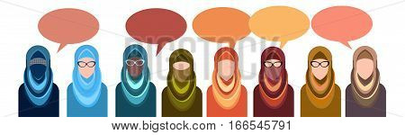 Arab People Group Chat Bubble Communication Concept, Muslim Talking Arabic Woman Social Network Flat Vector Illustration