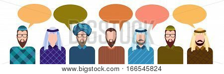Arab People Group Chat Bubble Communication Concept, Muslim Talking Arabic Man Social Network Flat Vector Illustration