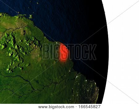 French Guiana From Space During Dusk