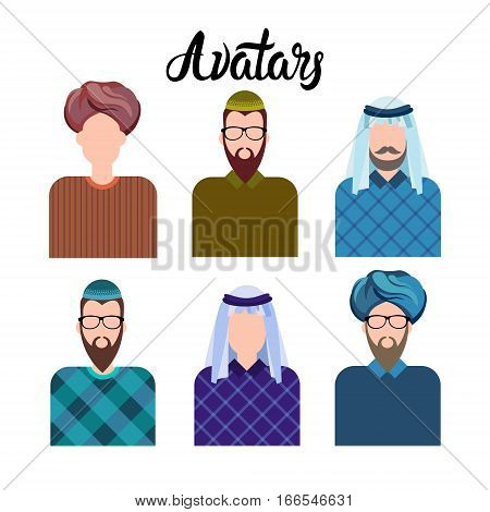 Arab Man, Muslim Arabic Male Profile Icon Set Social Network Flat Vector Illustration