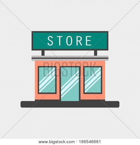 store shop market commercial online flat design cartoon vector stock