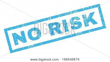 No Risk text rubber seal stamp watermark. Tag inside rectangular banner with grunge design and dirty texture. Inclined vector blue ink sign on a white background.