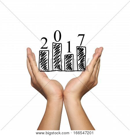Symbol of business bar graph and 2017 number on man hand in concept new year of presentation or advertising support your organization isolated on white background.