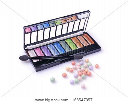 Composition Of Cosmetics With Coloured Eyeshadows And Face Powder Balls