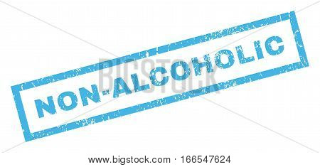 Non-Alcoholic text rubber seal stamp watermark. Caption inside rectangular banner with grunge design and dirty texture. Inclined vector blue ink sign on a white background.