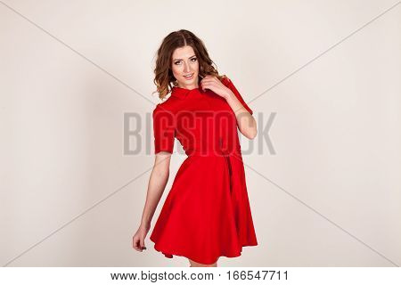 one beautiful toothy smiling caucasian woman portrait in studio isolated on white background