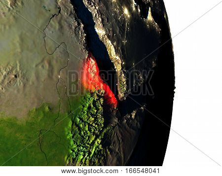Eritrea From Space During Dusk