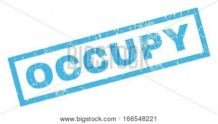 Occupy text rubber seal stamp watermark. Tag inside rectangular banner with grunge design and dust texture. Inclined vector blue ink sticker on a white background.