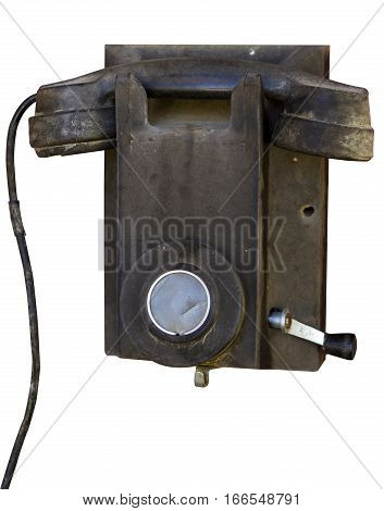 Antique outdated old telephone on a white background
