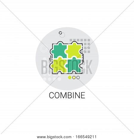Puzzle Combine Business Connection Cooperation Icon Vector Illustration