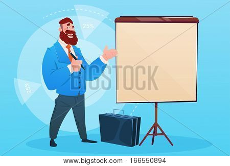 Business Man With Flip Chart Seminar Training Conference Brainstorming Presentation Flat Vector Illustration