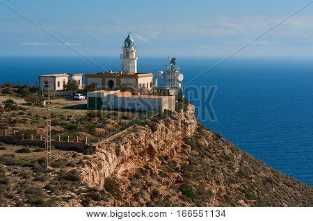 Mesa Roldan Lighthouse Cabo de Gata-Nijar Natural Park Almeria province Andalusia. Spain