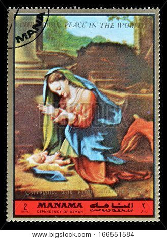 MANAMA - CIRCA 1972 : Cancelled postage stamp printed by Manama, that shows Christmas.