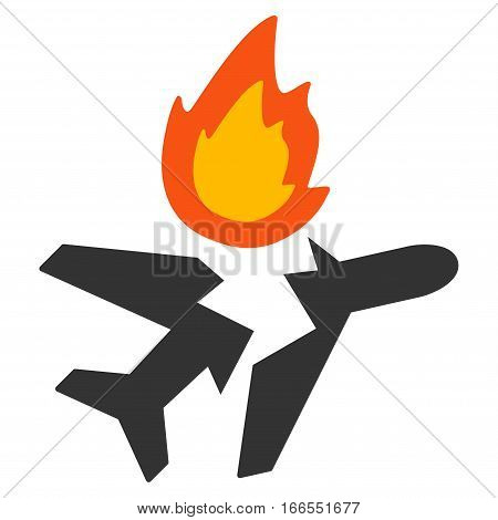 Airplane Crash vector icon. Style is flat graphic symbol.