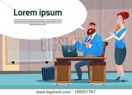 Business Man And Woman Cabinet Desk Working Place Office Interior Businesspeople Workplace Flat Vector Illustration