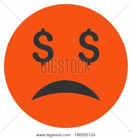 Bankrupt Smiley vector pictograph. Style is flat graphic symbol.