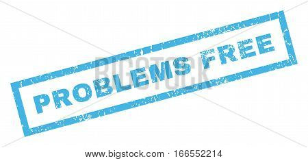 Problems Free text rubber seal stamp watermark. Tag inside rectangular banner with grunge design and dust texture. Inclined vector blue ink sticker on a white background.