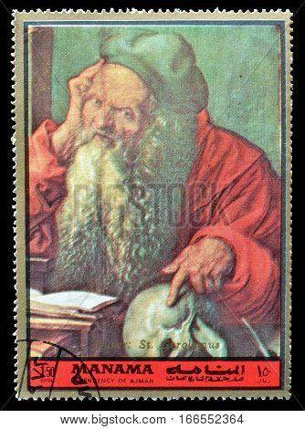 MANAMA - CIRCA 1972 : Cancelled postage stamp printed by Manama, that shows Saint Jerome.