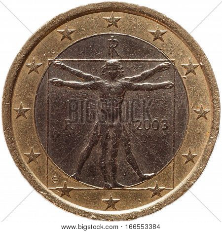 Italian One euro coin isolated on white background. European currency economy concept.