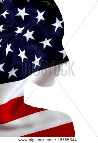 Double exposure of beautiful girl silhouette. Conceptual in the national colors of the flag of the United States of America, USA. Isolated on white background