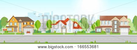 Beautiful quiet Residential street with big houses in a flat design. Summer time urban city background.