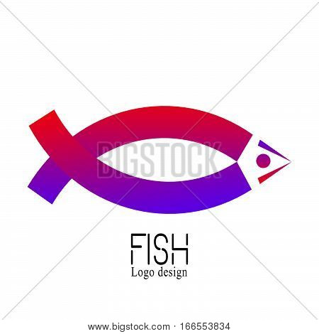 Fish Creative Logo of market logo design template emblem label badge icon isolated. Colorful logotype. Abstact ribbon Logo template. Corporate icon such as logotype isolated on white background