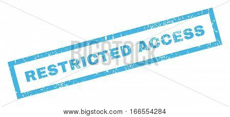 Restricted Access text rubber seal stamp watermark. Tag inside rectangular shape with grunge design and scratched texture. Inclined vector blue ink sticker on a white background.