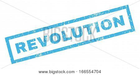 Revolution text rubber seal stamp watermark. Caption inside rectangular shape with grunge design and scratched texture. Inclined vector blue ink sticker on a white background.