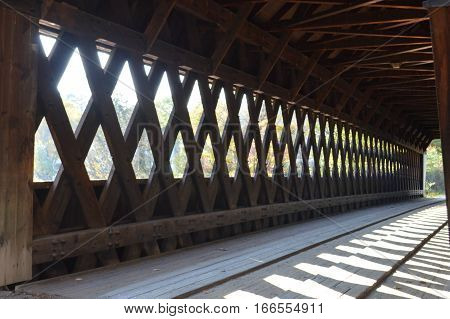 Interior of Middle Covered bridge in Woodstock, Vermont