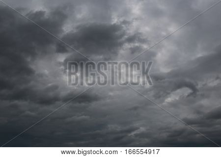 Overcast sky of rain clouds forming in the sky in concept of climatePoor weather in the daytime.