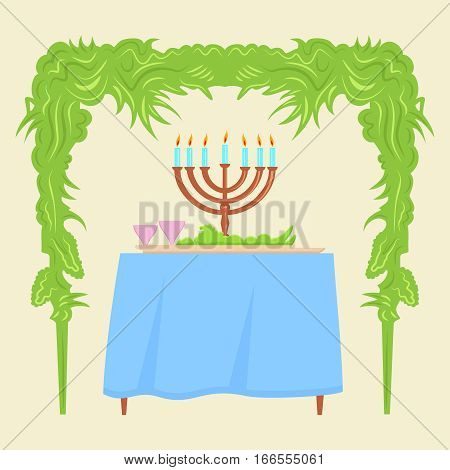 Sukkot Festival greeting card design vector template. Traditional Jewish Sukkot holiday decoration - the holiday hut.